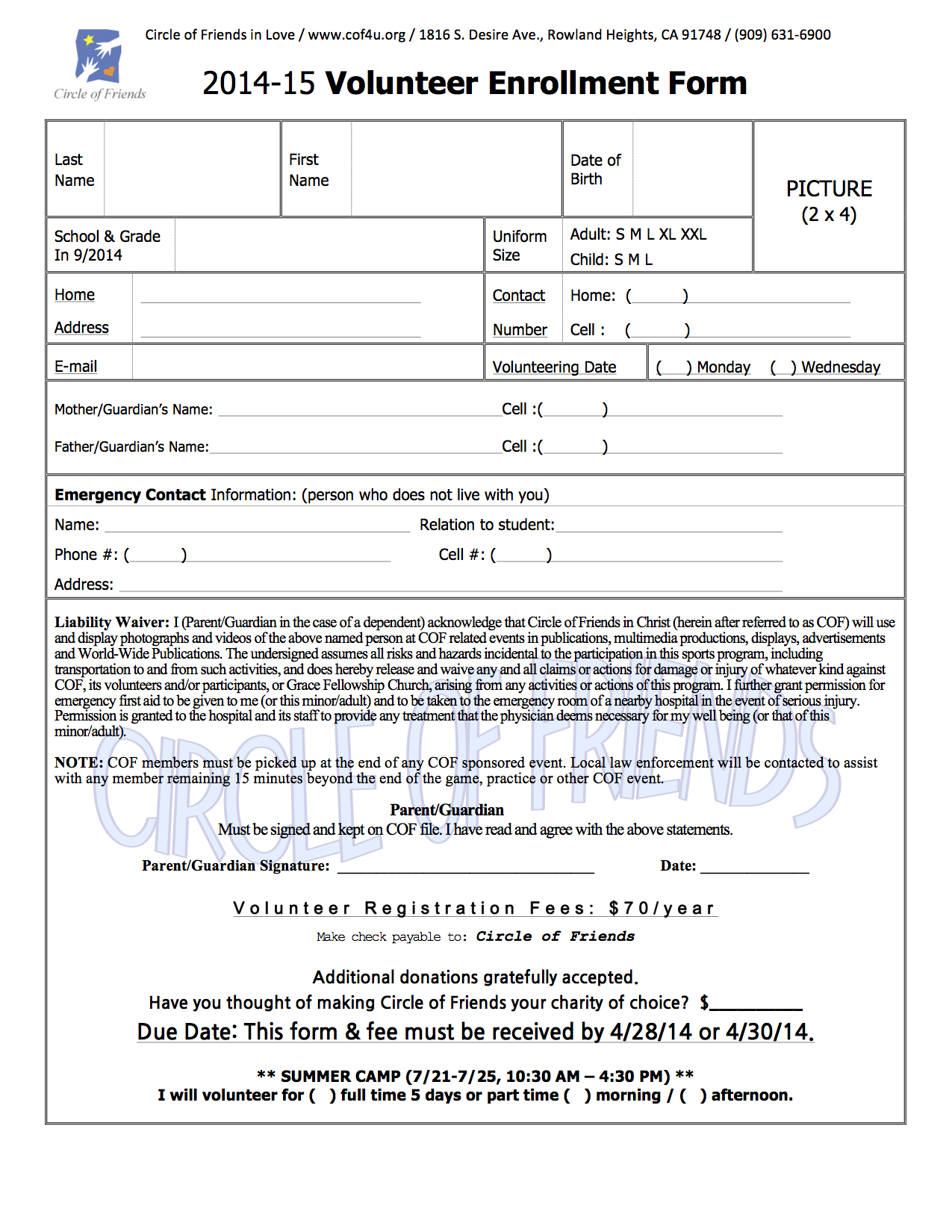volunteering application form under fontanacountryinn com